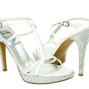 Stuart Weitzman White Satin Bridal Crystal Shoes
